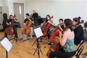 Teaching a cello sectional at the conservatory in Tijuana